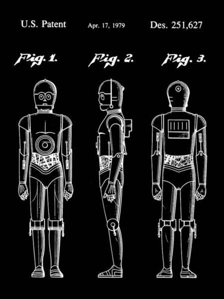 Star Wars Wall Art - Digital Art - Star Wars C-3po Patent 1979 - Black by Stephen Younts