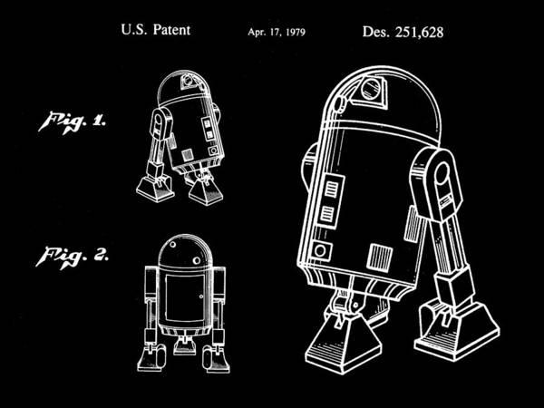 R2-d2 Digital Art - Star Wars R2-d2 Patent 1979 - Black by Stephen Younts