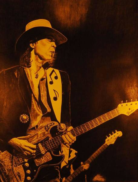 Wall Art - Drawing - Stevie Ray Vaughan 1984 by Charles Rogers