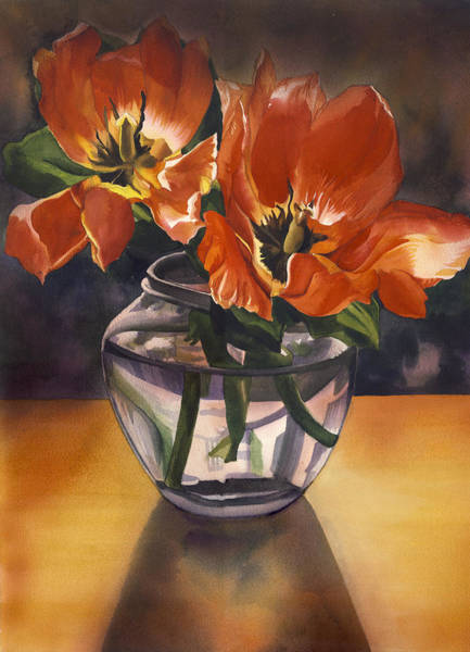 Painting - Still Life With Tulips by Alfred Ng