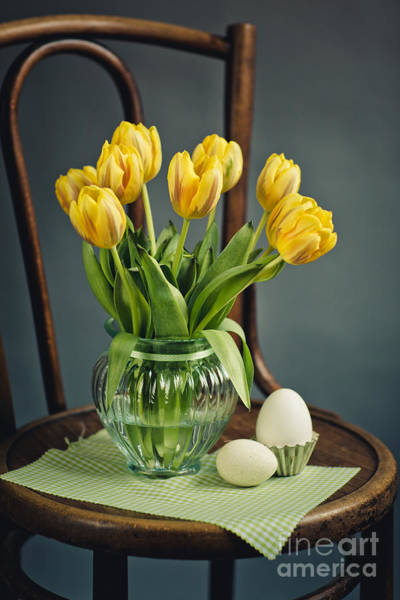 Egg Photograph - Still Life With Yellow Tulips by Nailia Schwarz