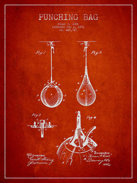 Mma Digital Art - Striking Bag Patent Drawing From1891 by Aged Pixel