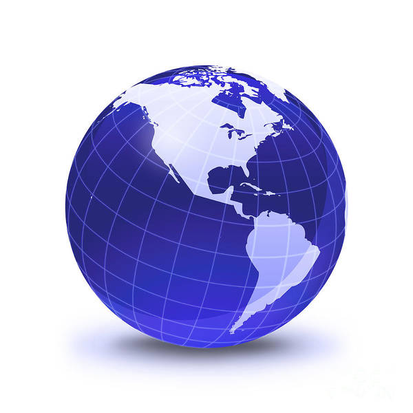Digital Art - Stylized Earth Globe With Grid, Showing by Leonello Calvetti