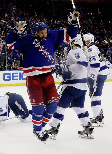Madison Square Garden Photograph - Tampa Bay Lightning V New York Rangers by Bruce Bennett