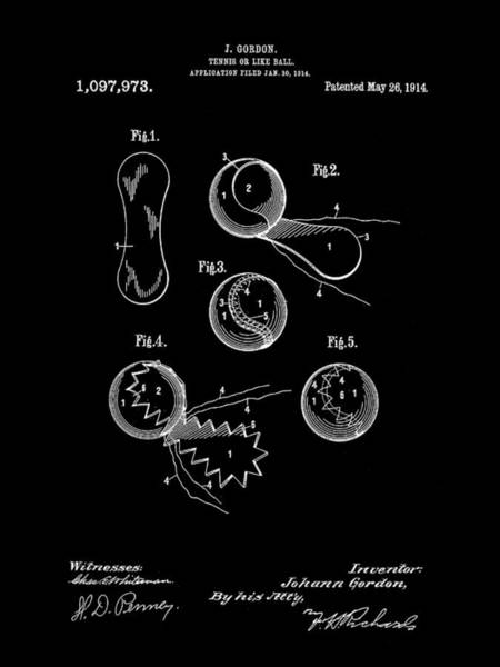 Wall Art - Digital Art - Tennis Ball Patent 1914 - Black by Stephen Younts