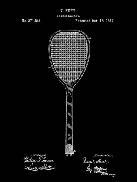 Serve Digital Art - Tennis Racket Patent 1887 - Black by Stephen Younts