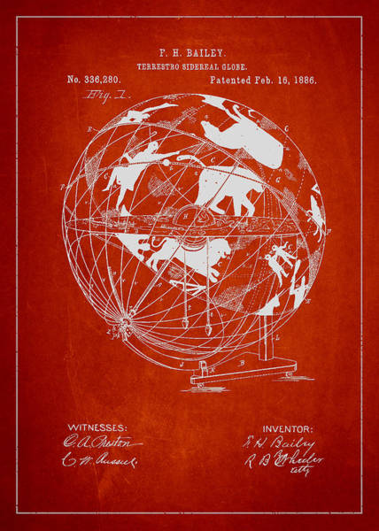 Red Planet Digital Art - Terrestro Sidereal Globe Patent Drawing From 1886 by Aged Pixel