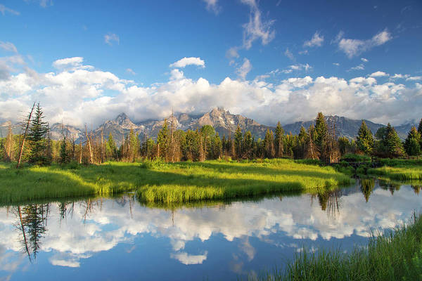 Beaver Pond Wall Art - Photograph - Teton Mountains Reflect In Schwabacher by Chuck Haney