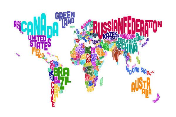 Text Map Digital Art - Text Map Of The World by Michael Tompsett