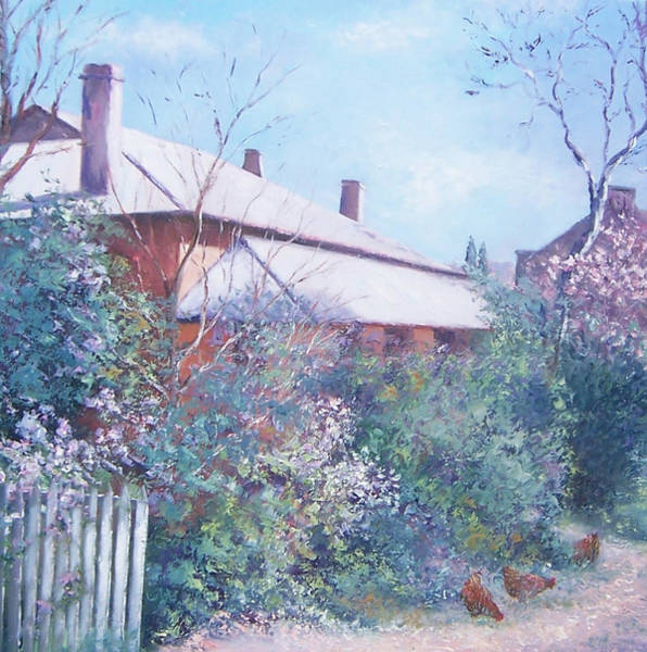 White Picket Fence Painting - The Old Farm House by Jan Matson
