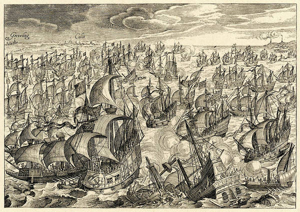 Wall Art - Drawing - The Spanish Armada The Spanish Fleet by Mary Evans Picture Library