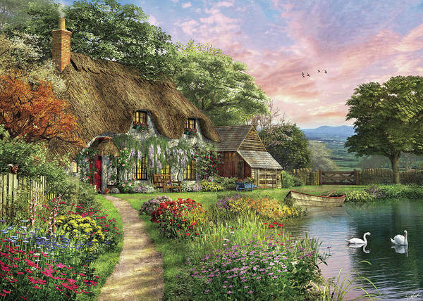 Wall Art - Painting - The Sunset Cottage by MGL Meiklejohn Graphics Licensing