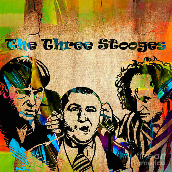 Wall Art - Mixed Media - The Three Stooges Collection by Marvin Blaine