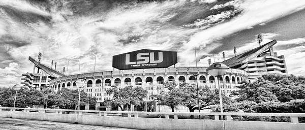 Wall Art - Photograph - Tiger Stadium Panorama -hdr Bw by Scott Pellegrin