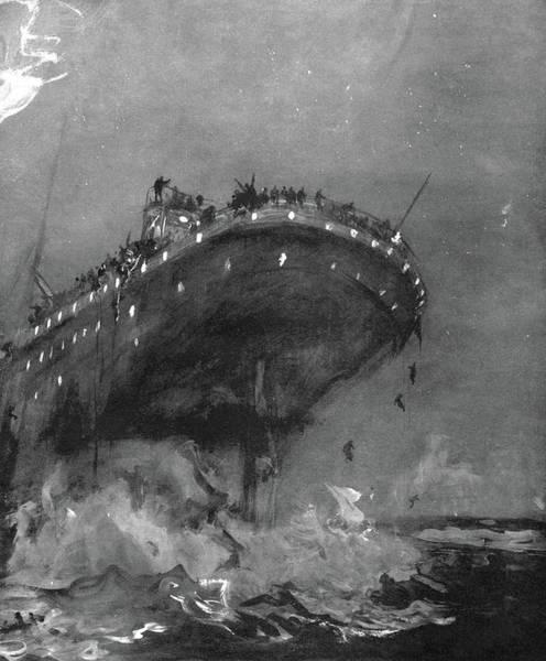 Drawing - Titanic Sinking, 1912 by Granger