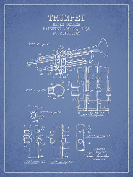 Patent Drawing Wall Art - Digital Art - Trumpet Patent From 1939 - Light Blue by Aged Pixel
