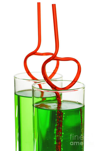 Soda Straws Photograph - Two Glasses With Heart Straws by Aleksey Tugolukov