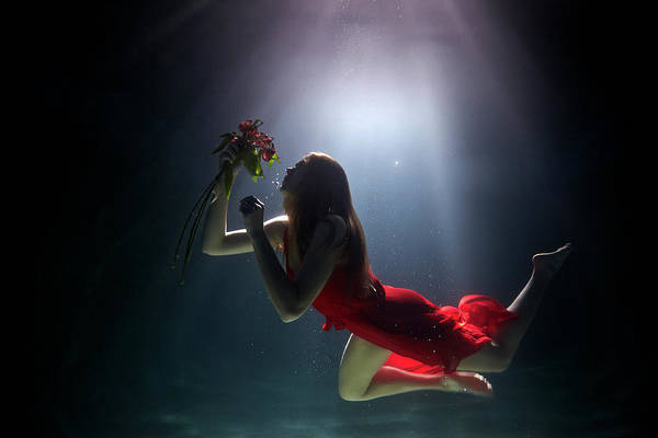 Red Dress Photograph - Underwater by Mark Mawson