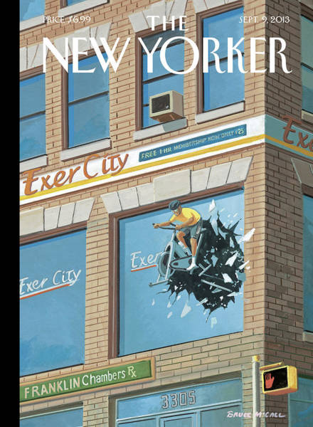 Bicycle Painting - New Yorker September 9th, 2013 by Bruce McCall