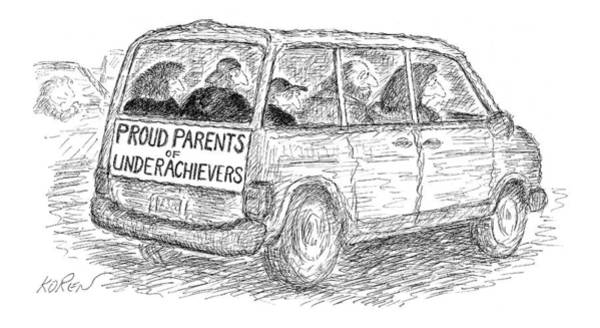 Proud Drawing - Proud Parents Of Underachievers by Edward Koren