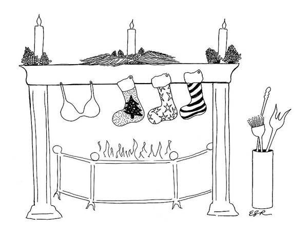 Fireplace Drawing - New Yorker December 13th, 2004 by Emily S. Hopkins