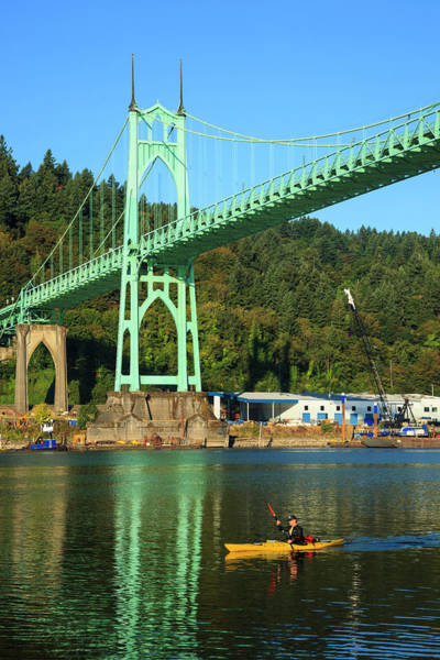 Paddle Boats Photograph - Usa, Oregon, Portland, Cathedral Park by Rick A Brown