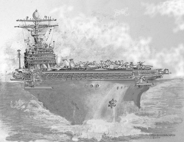 Persian Gulf Drawing - Usn Aircraft Carrier Abraham Lincoln by Jim Hubbard