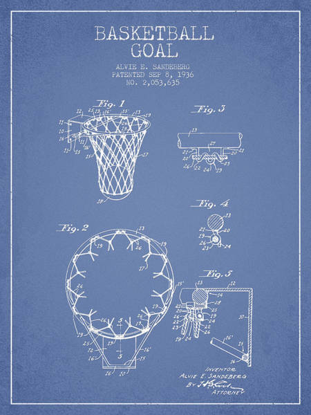 Association Digital Art - Vintage Basketball Goal Patent From 1936 by Aged Pixel