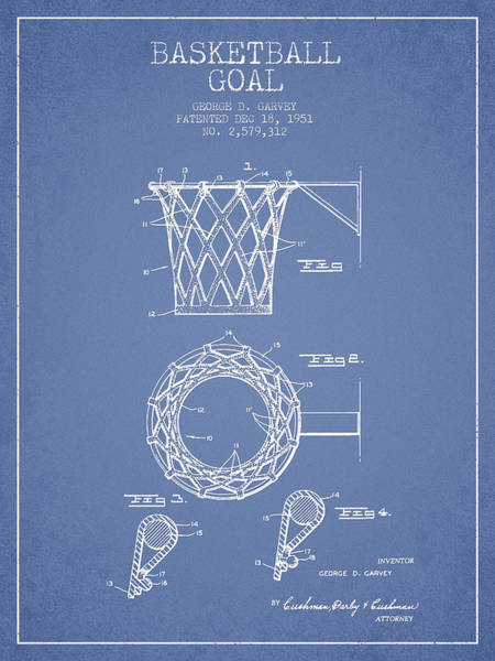 Association Digital Art - Vintage Basketball Goal Patent From 1951 by Aged Pixel