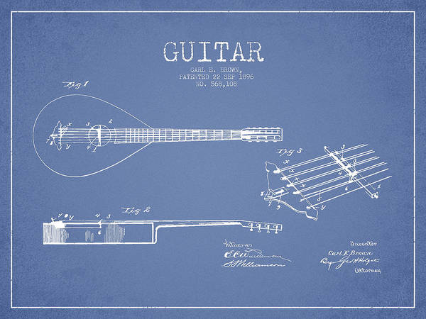 Wall Art - Digital Art - Vintage Guitar Patent Drawing From 1896 by Aged Pixel