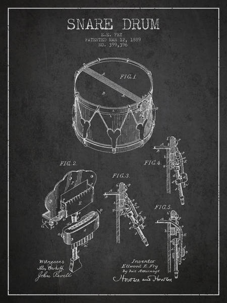 Country Living Digital Art - Vintage Snare Drum Patent Drawing From 1889 - Dark by Aged Pixel