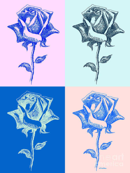 Digital Art - 4 Warhol Roses By Punt by Gordon Punt