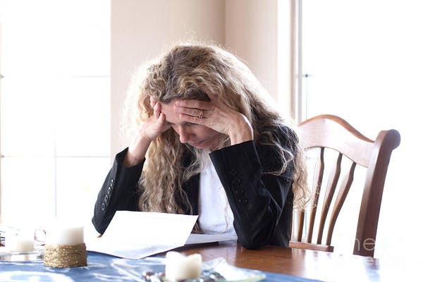 Photograph - Woman Worried About Bills  by Gunter Nezhoda