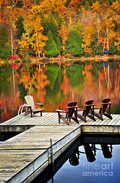Wall Art - Photograph - Wooden Dock On Autumn Lake by Elena Elisseeva