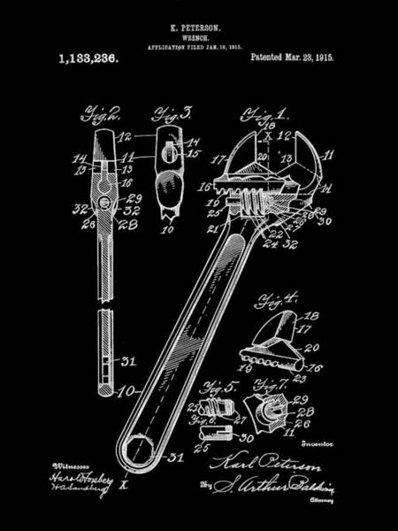 Adjustable Wrench Wall Art - Digital Art - Wrench Patent 1915 - Black by Stephen Younts