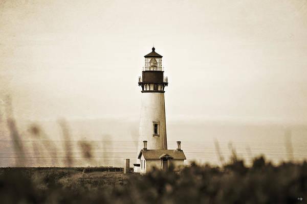 Coast Guard House Photograph - Yaquina Head Lighthouse - Sepia Texture by Scott Pellegrin