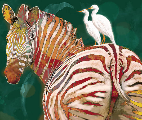 1 Drawing - Zebra - Stylised Drawing Art Poster by Kim Wang