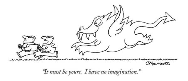 Imagination Drawing - It Must Be Yours.  I Have No Imagination by Charles Barsotti