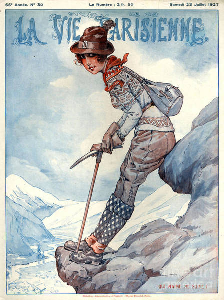 Hiking Drawing - 1920s France La Vie Parisienne Magazine by The Advertising Archives