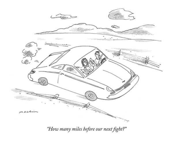 Auto Drawing - How Many Miles Before Our Next Fight? by Michael Maslin