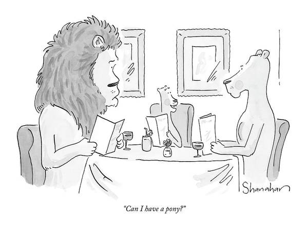 Dine Drawing - Can I Have A Pony? by Danny Shanahan