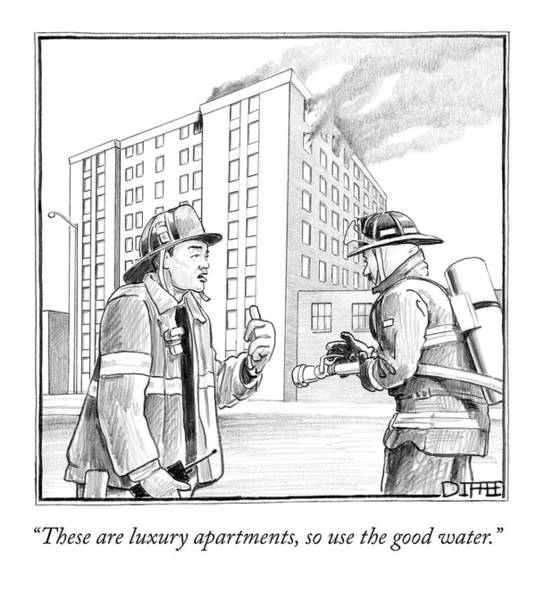 Good News Drawing - These Are Luxury Apartments by Matthew Diffee