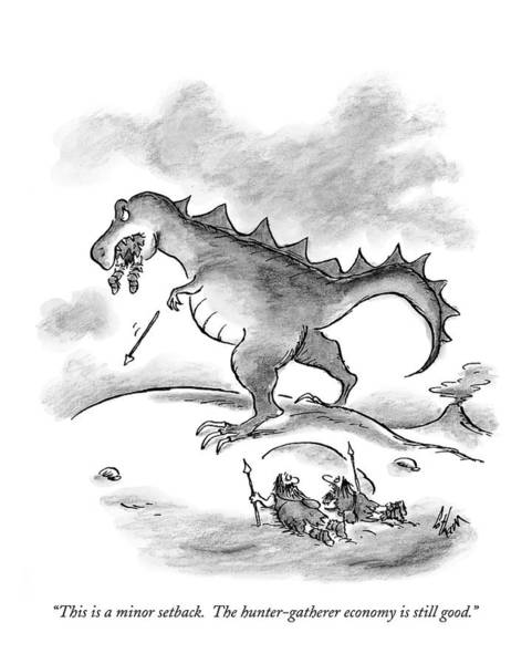 Dinosaurs Drawing - This Is A Minor Setback. The Hunter-gatherer by Frank Cotham