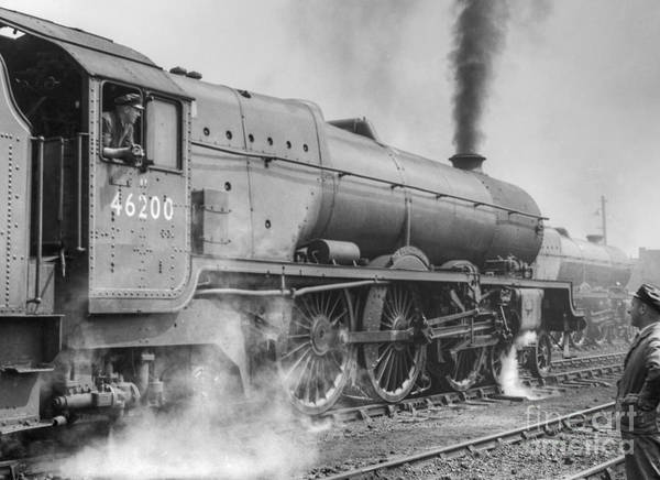 Photograph - 46200 The Princess Royal With Enginemen by David Birchall