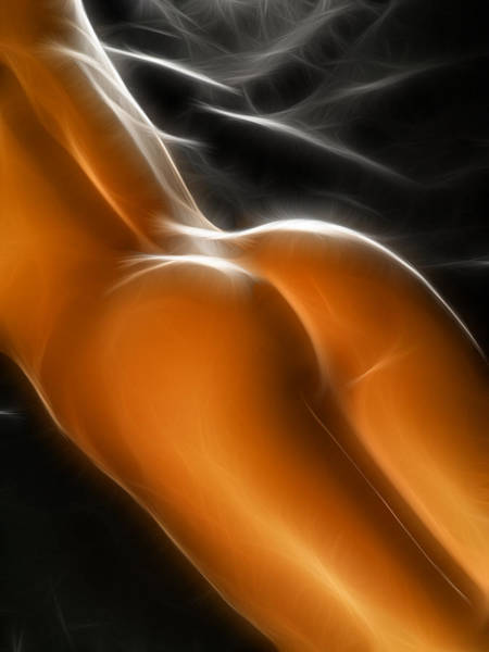 Photograph - 4649 Glowing Fractal Nude Woman's Beautiful Bottom by Chris Maher