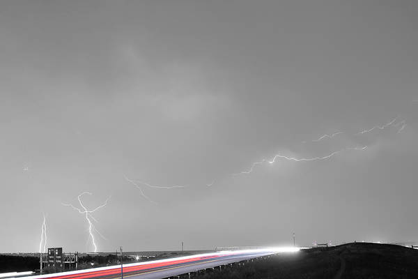Photograph - 47 Street Lightning Storm Light Trails View Bwsc by James BO Insogna