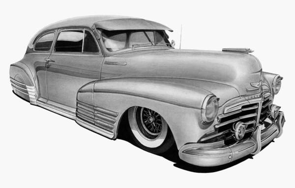 Chevrolet Drawing - 48 Chevy Fleetline by Lyle Brown
