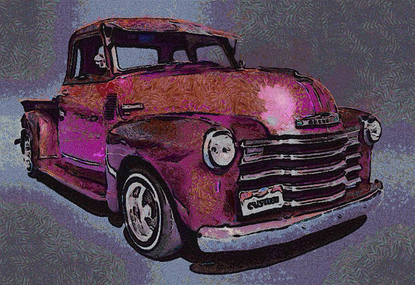 Truck Digital Art - 48 Chevy Truck Pink by Ernie Echols