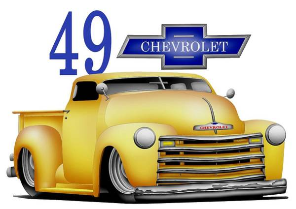 Pick Up Truck Digital Art - 49 Chevrolet by Lyle Brown