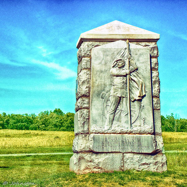 Photograph - 4th Michigan Infantry Memorial Gettysburg Battleground by Bob and Nadine Johnston